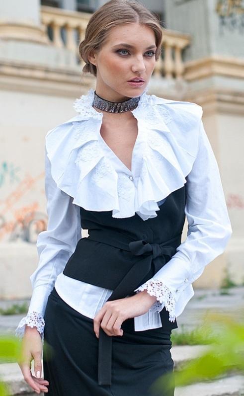 Белая Блузка Жилетка